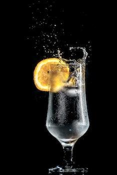 Full Wine Glass With Lemon Slices