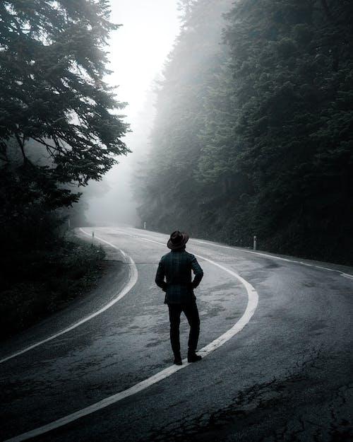 Man walking along road in forest