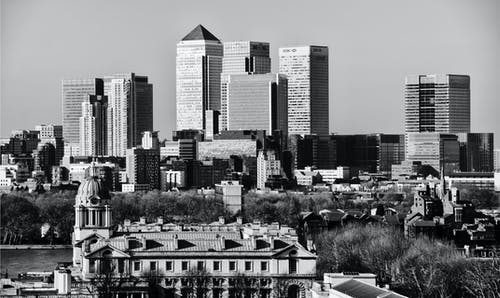 Monochromatic Shot Of High Rise Buildings