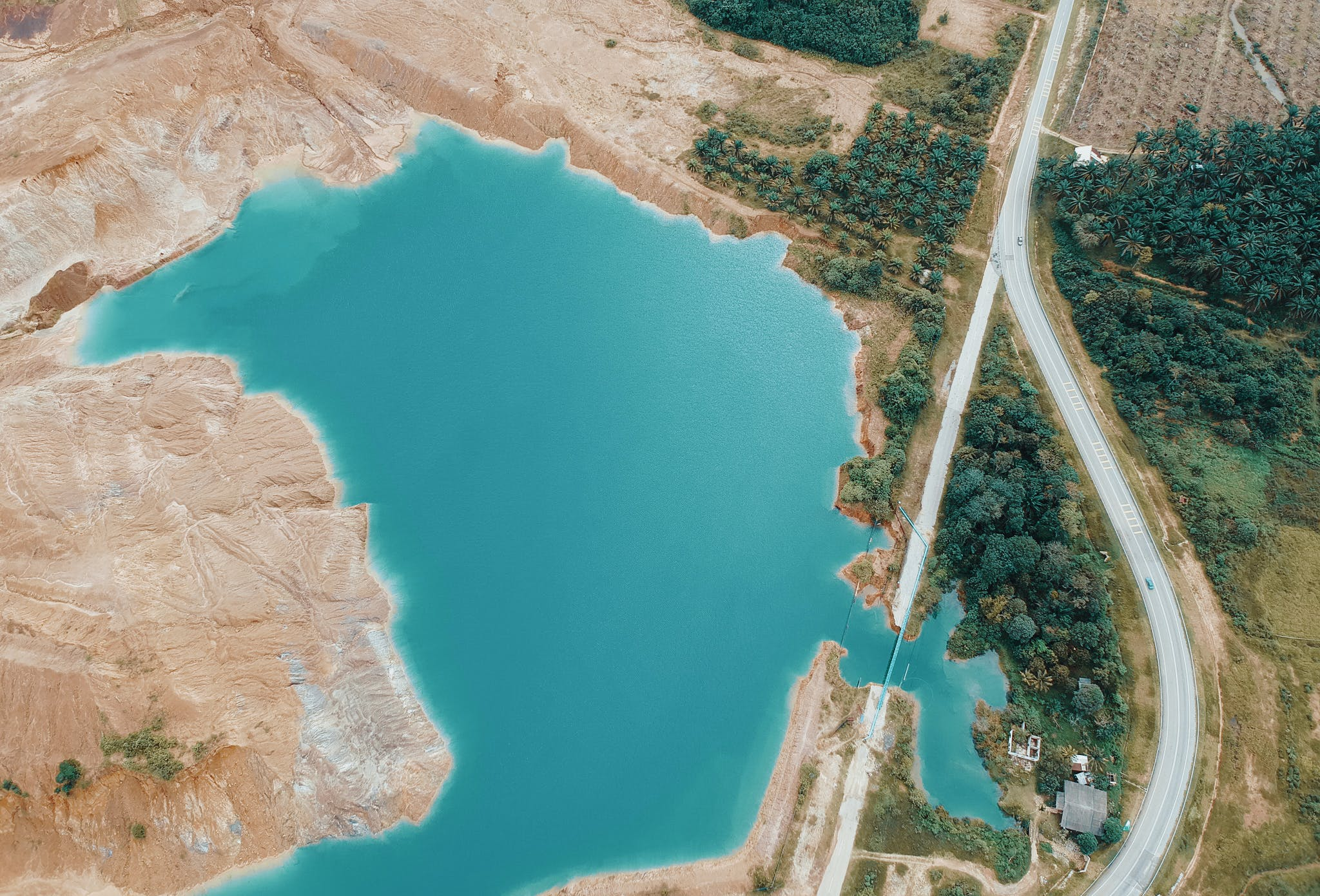 Aerial Photo of Lake Near Highway