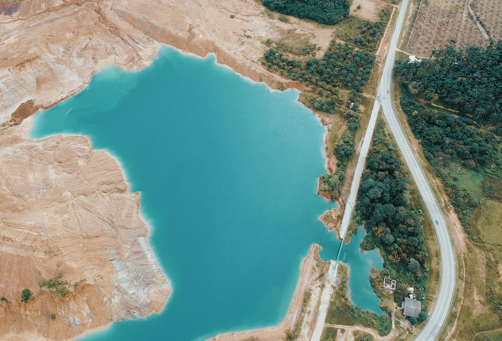 Aerial Photo of Lake Near Highway