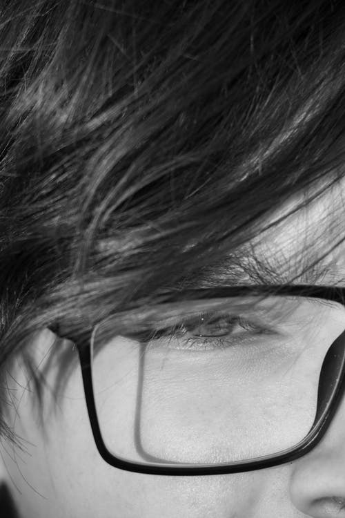 Grayscale Photo of a Person's Eye