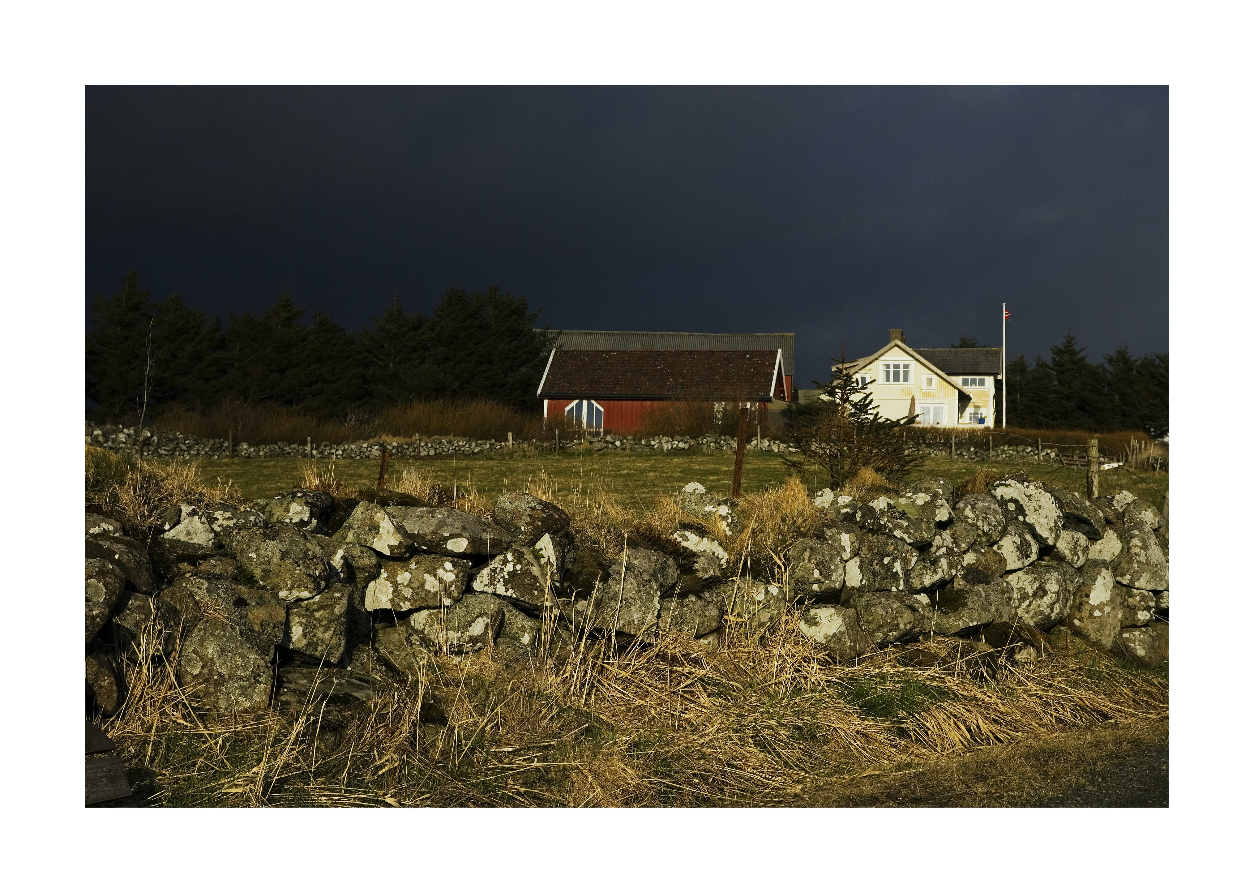 Free stock photo of dramatic sky, stonewalls, wooden house
