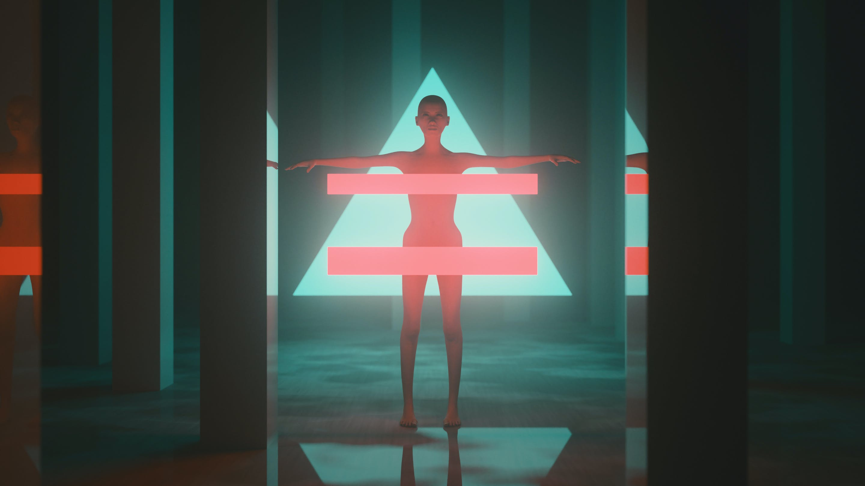 futuristic, geometric shapes, girl