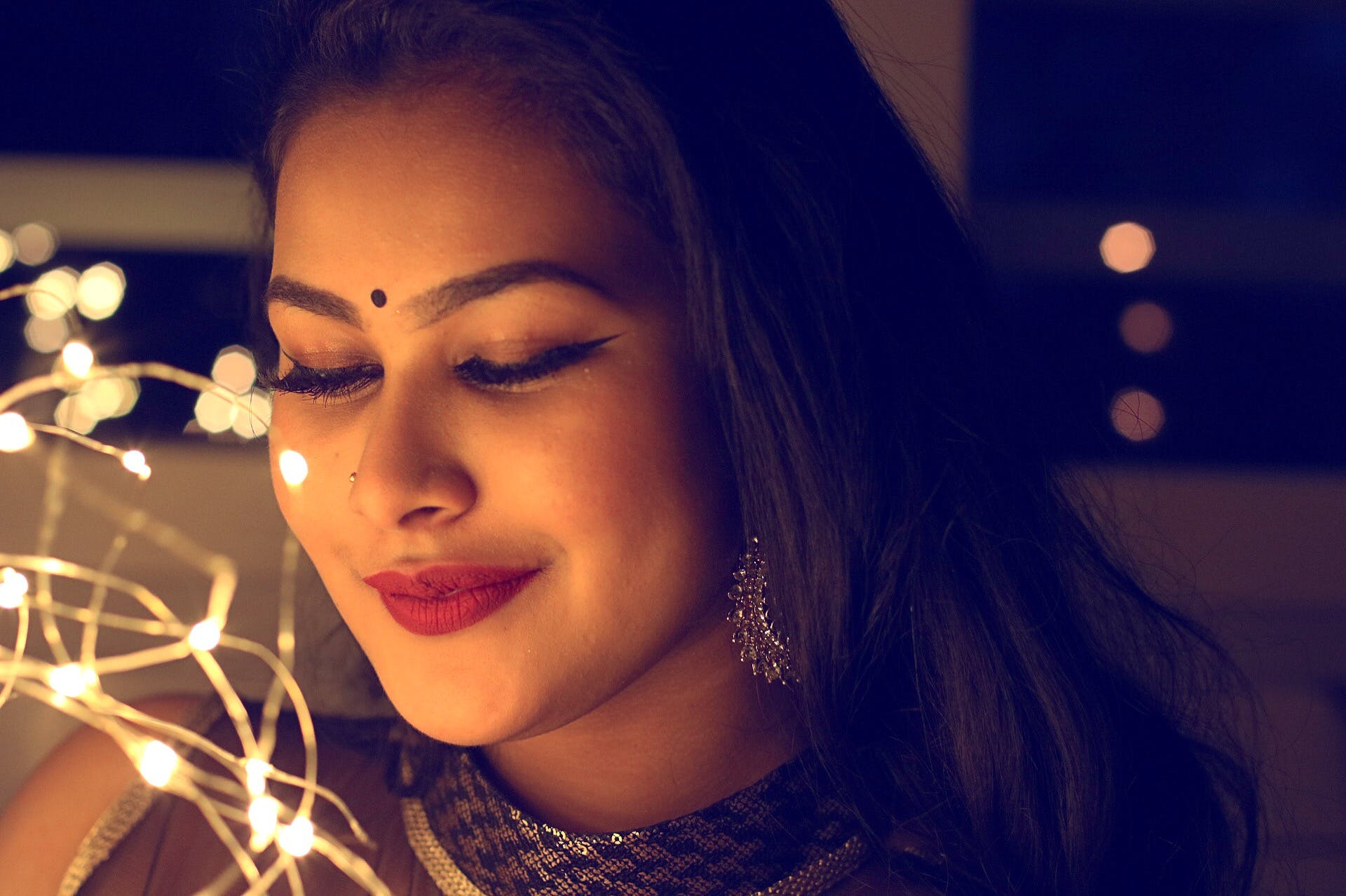 Woman With Red Lipstick And Black Bindi