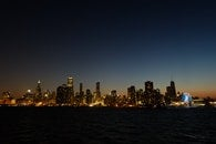 Panoramic View of Lighted City at Night