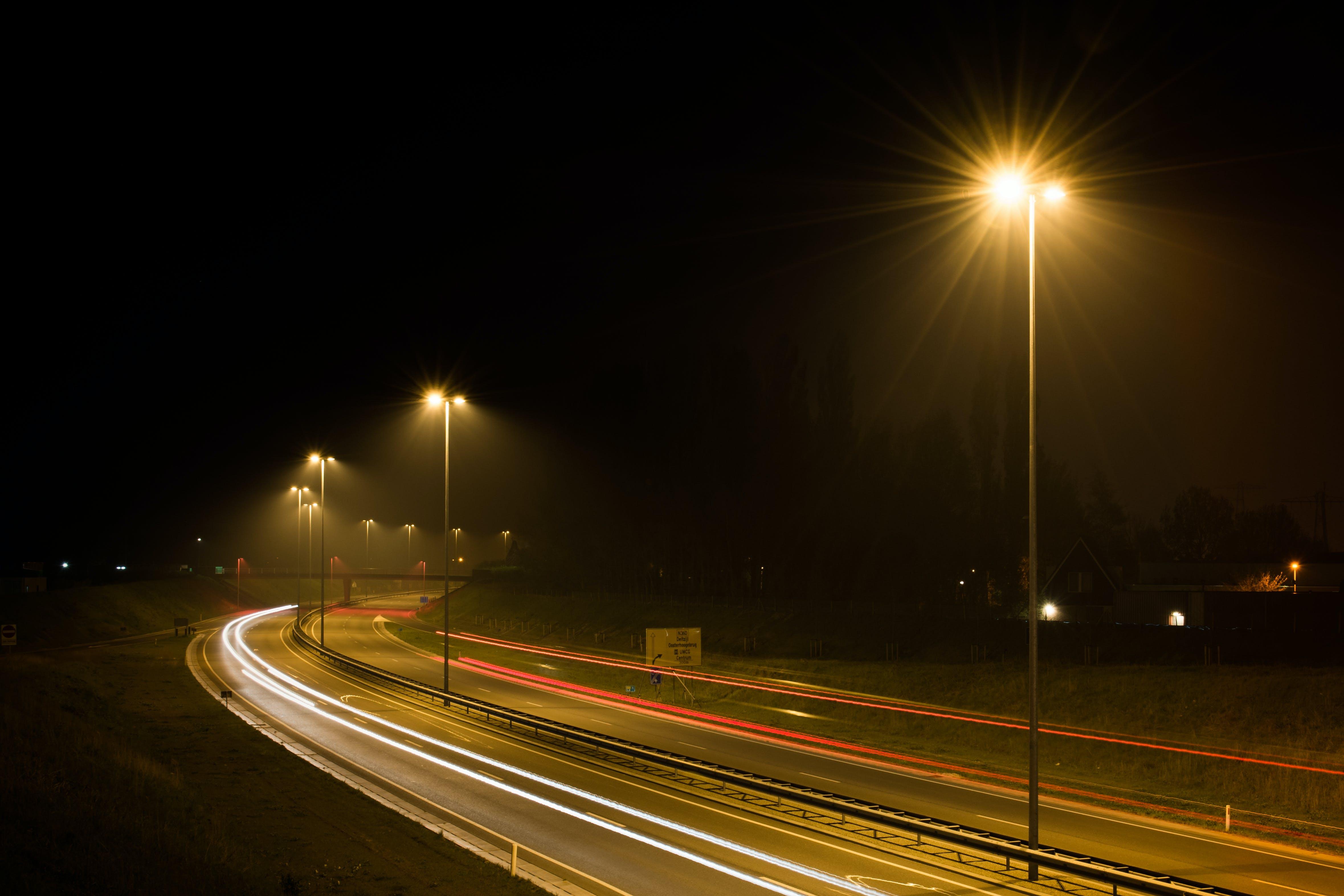 car lights, dark, highway