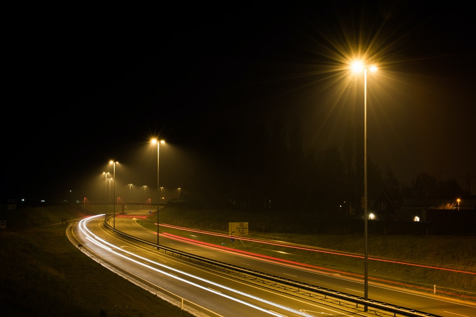 car lights, dark, highway
