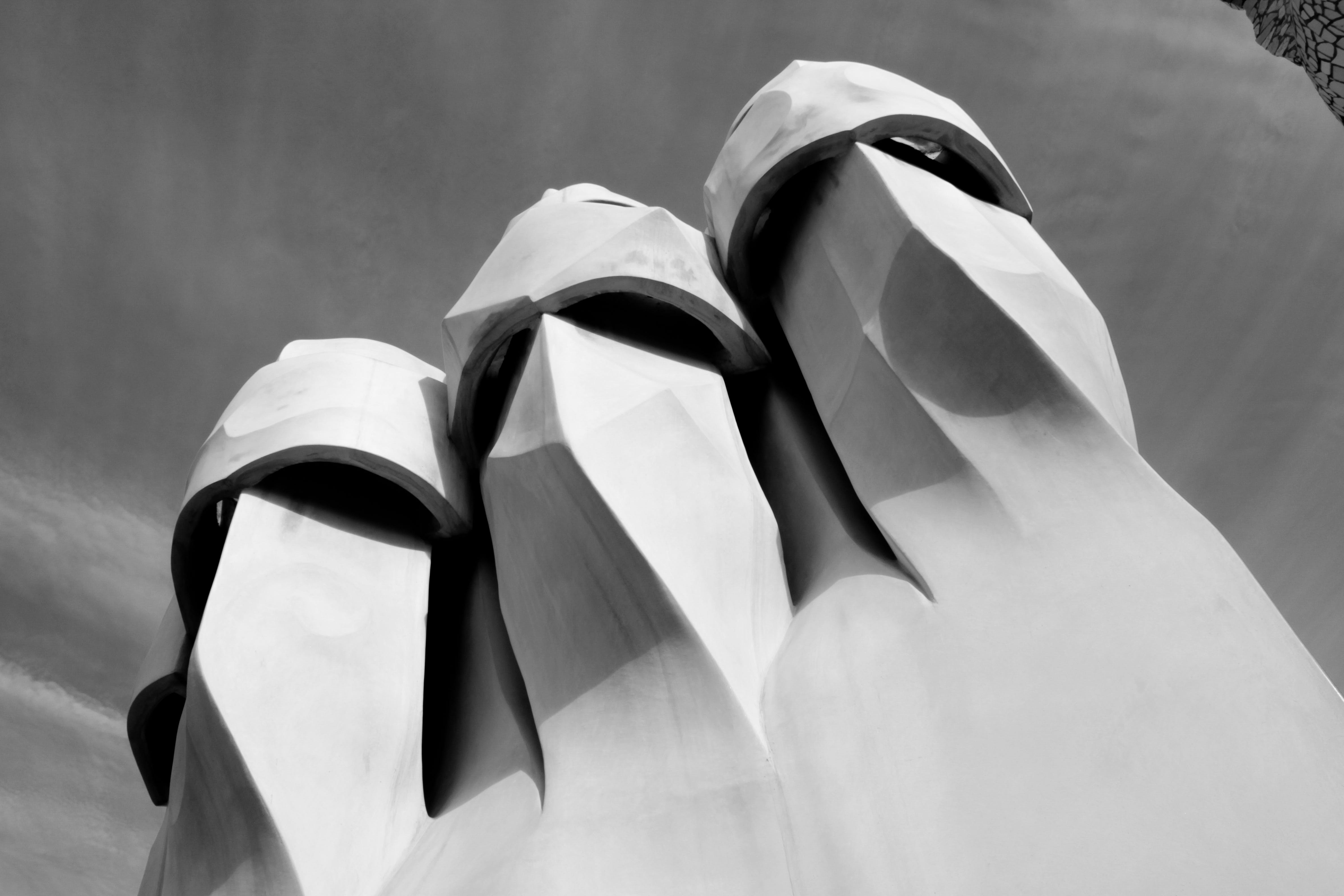 Free stock photo of architecture, barcelona, black and white, Gaudí