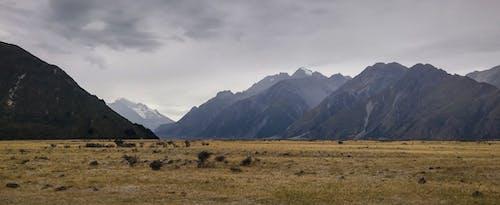 Gratis arkivbilde med dekket, fjell, skyet, tørt gress