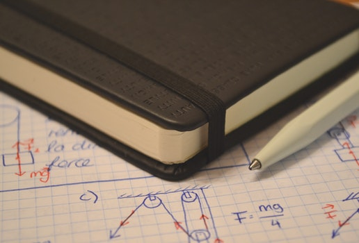 Free stock photo of notebook, pen, science, paper