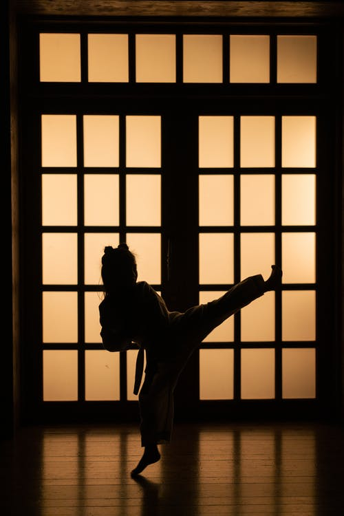 Silhouette of Man Standing on Window