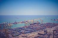 sea, port, cranes