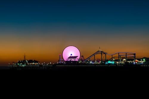 관람차, 긴 노출, 롤러코스터, 밤의 무료 스톡 사진