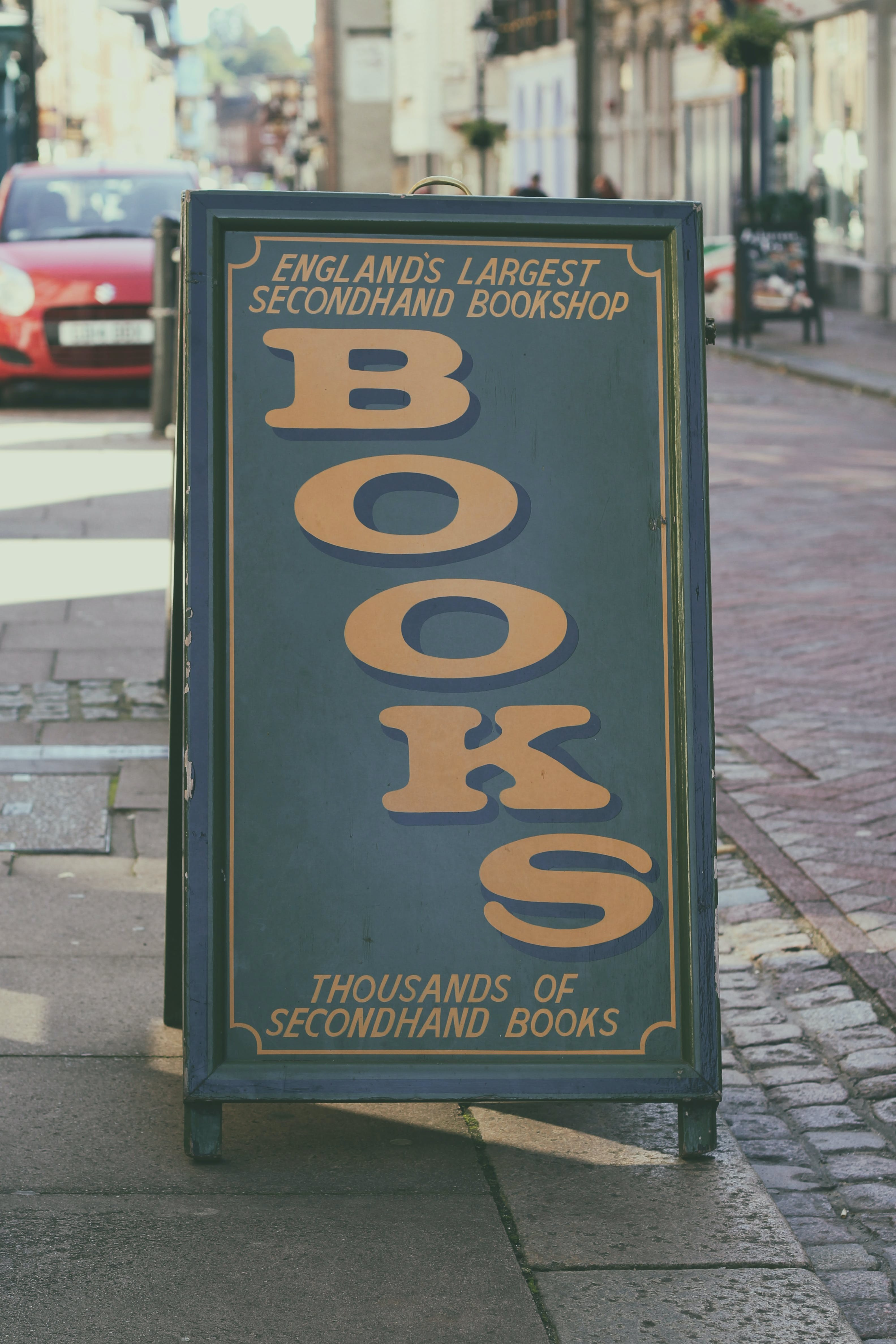 Free stock photo of books, sign, book, book shop