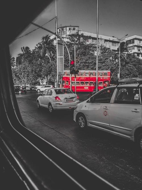 Бесплатное стоковое фото с mumbai, дорожное движение, красный, красный автобус