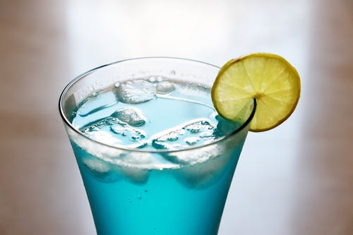 Close-Up Shot of a Blue Cocktail Drink