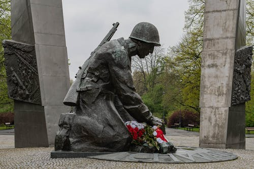 A Statue of a Soldier Kneeling