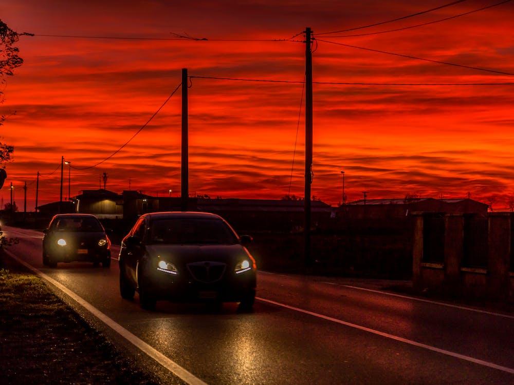 alba, asfalt, automòbil