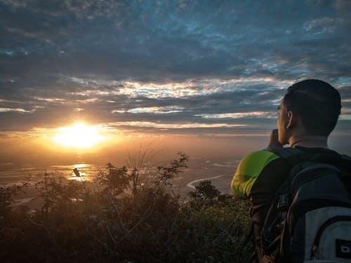 Imagine de stoc gratuită din alpinist, apus, backlit, cer
