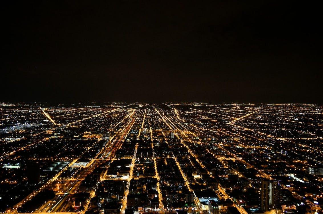 ciemny, miasto, noc