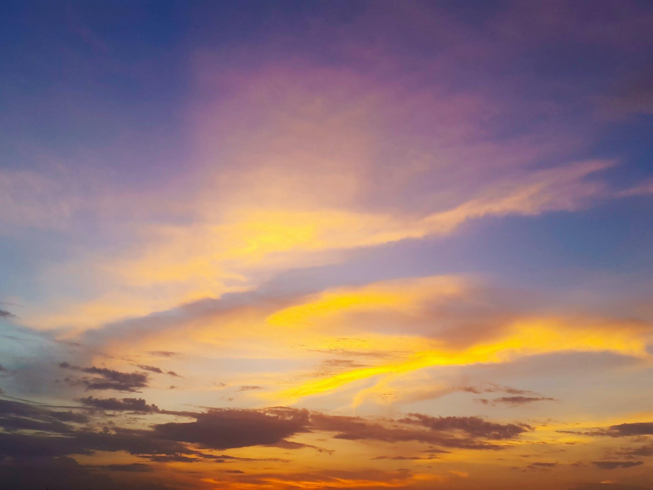 Free stock photo of golden sky