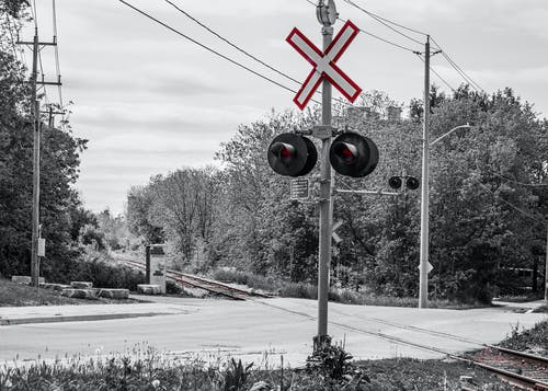 Free stock photo of black and white, crossing, railroad