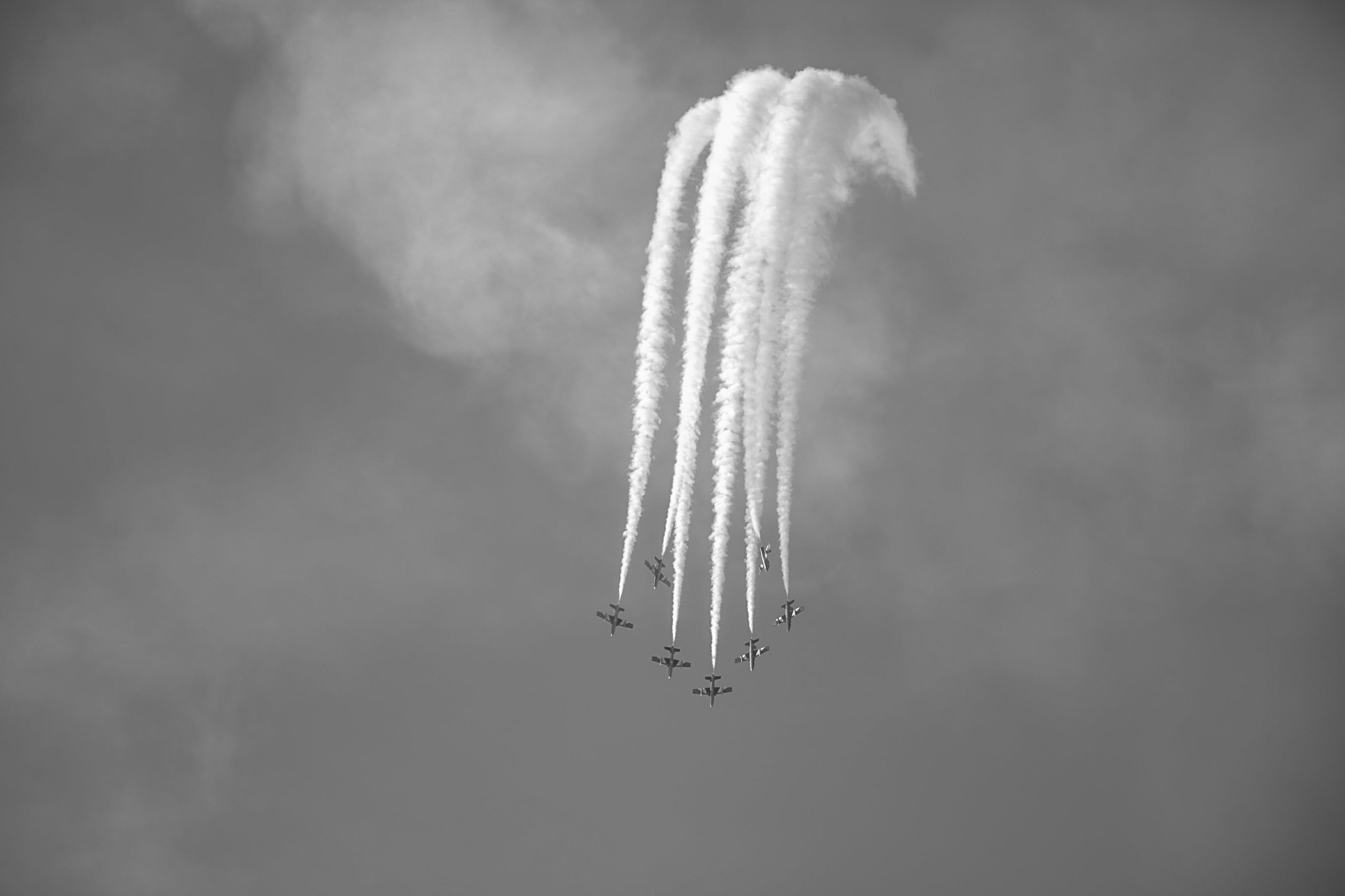 Photography Grayscale of Performing Jet