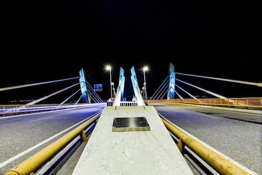 Free stock photo of light, cars, night, bridge