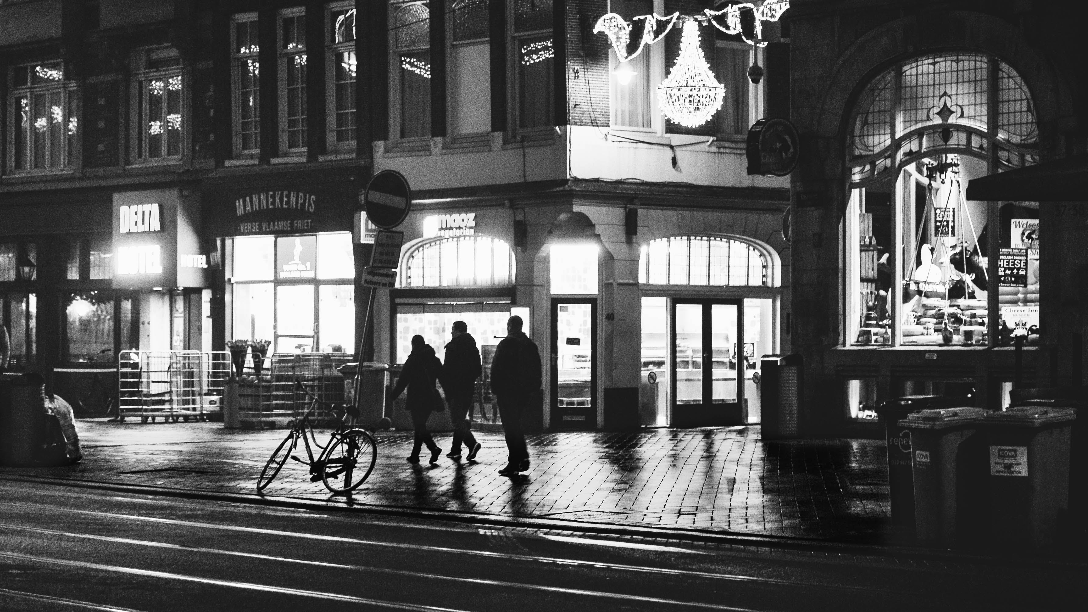 Free stock photo of amsterdam, black and white, lights, people