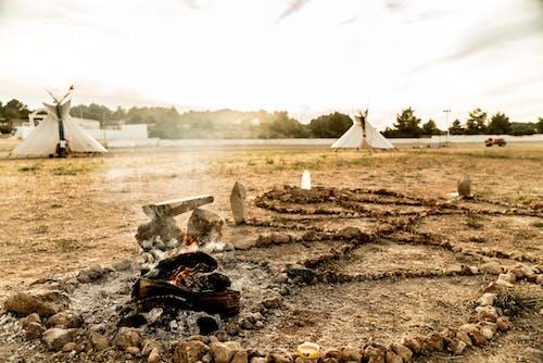Free stock photo of fire, native american, teepee