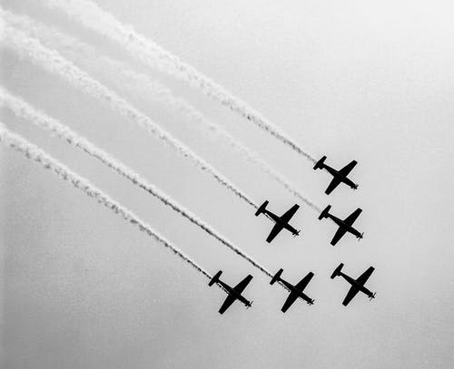 Four Fighter Plane in the Sky