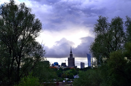 Free stock photo of clouds, autumn, center, warsaw