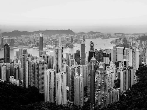 คลังภาพถ่ายฟรี ของ ขาวดำ, ตัวเมือง, ตึก, ตึกระฟ้า