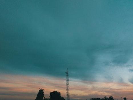 Free stock photo of blue sky, radio tower