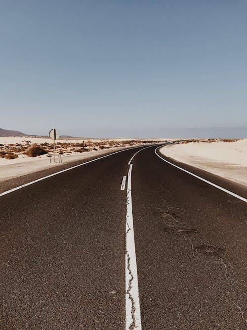 Black Asphalt Road Under Blue Sky