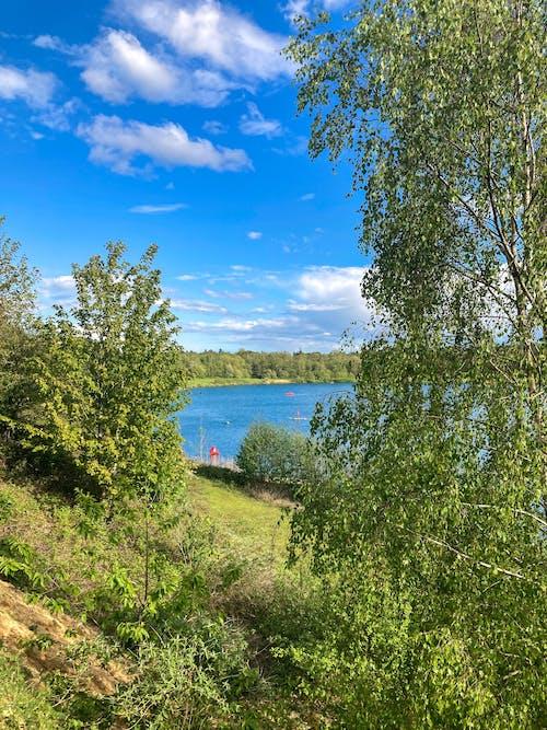 Free stock photo of blue lake, blue sky, boat