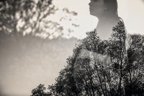Kostnadsfri bild av dubbel exponering, himmel, kvinna, träd