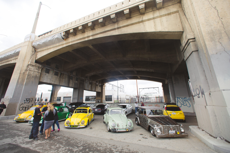 Free stock photo of art deco, bridge, car meet, classic cars