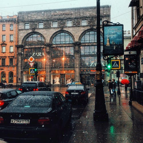 Snow Falling in the City