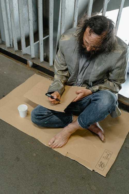 Man Sitting on the Ground
