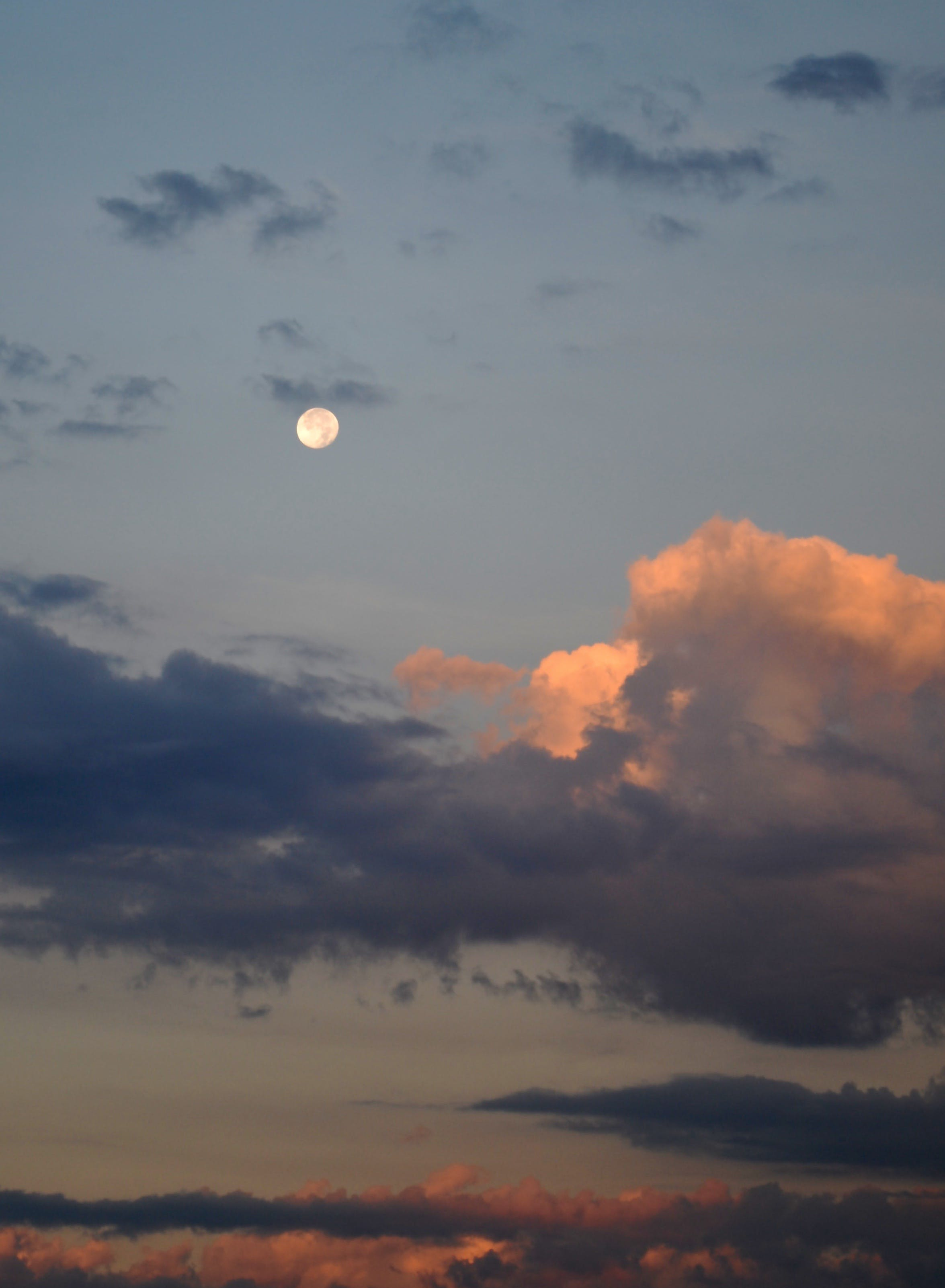 Free stock photo of sky, clouds, moon