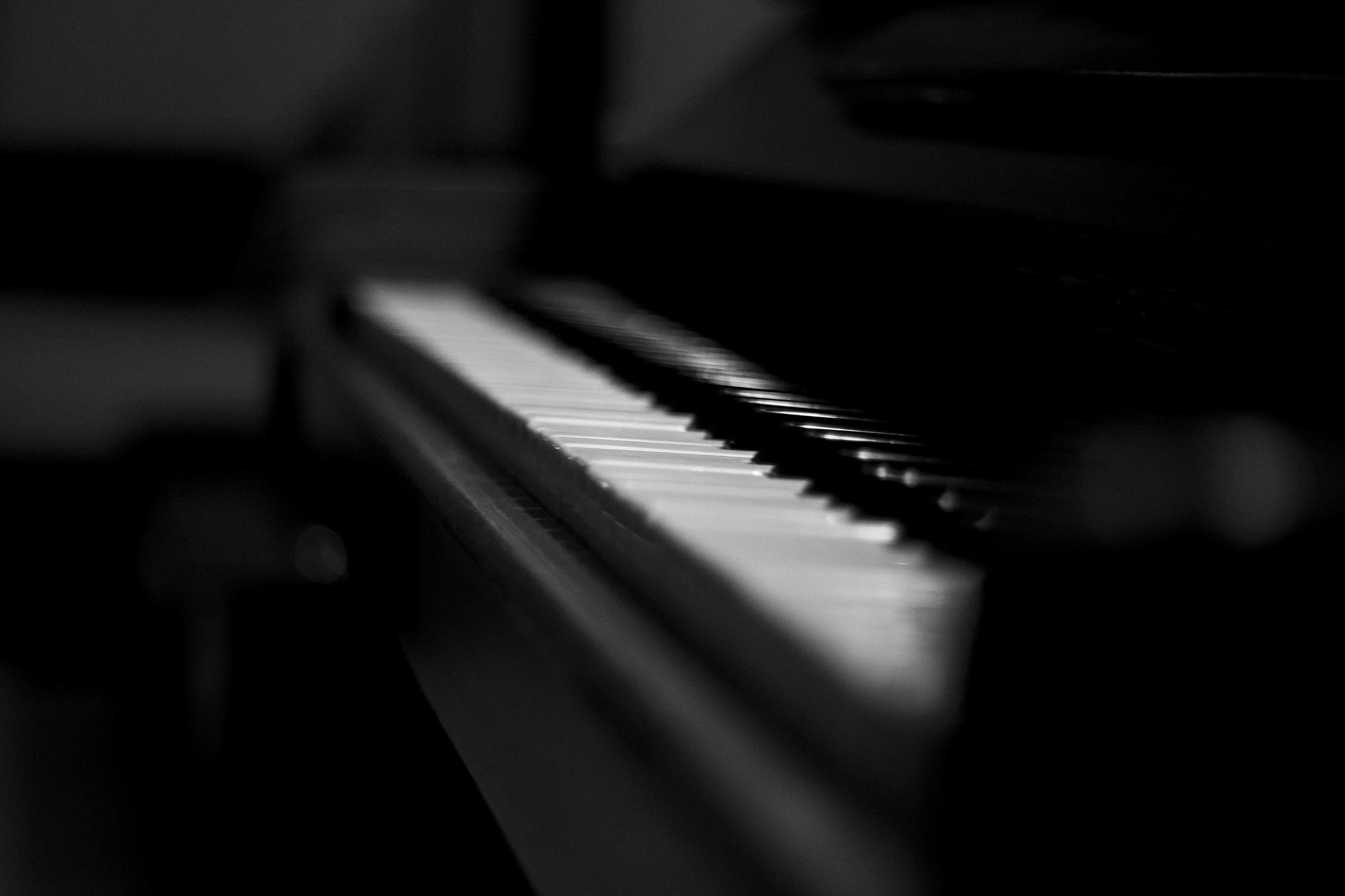 Foto stok gratis hitam dan putih, musik, musisi, piano