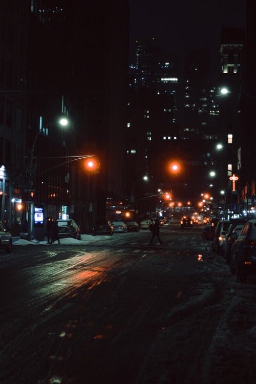 Asphalt road placed in city in night time