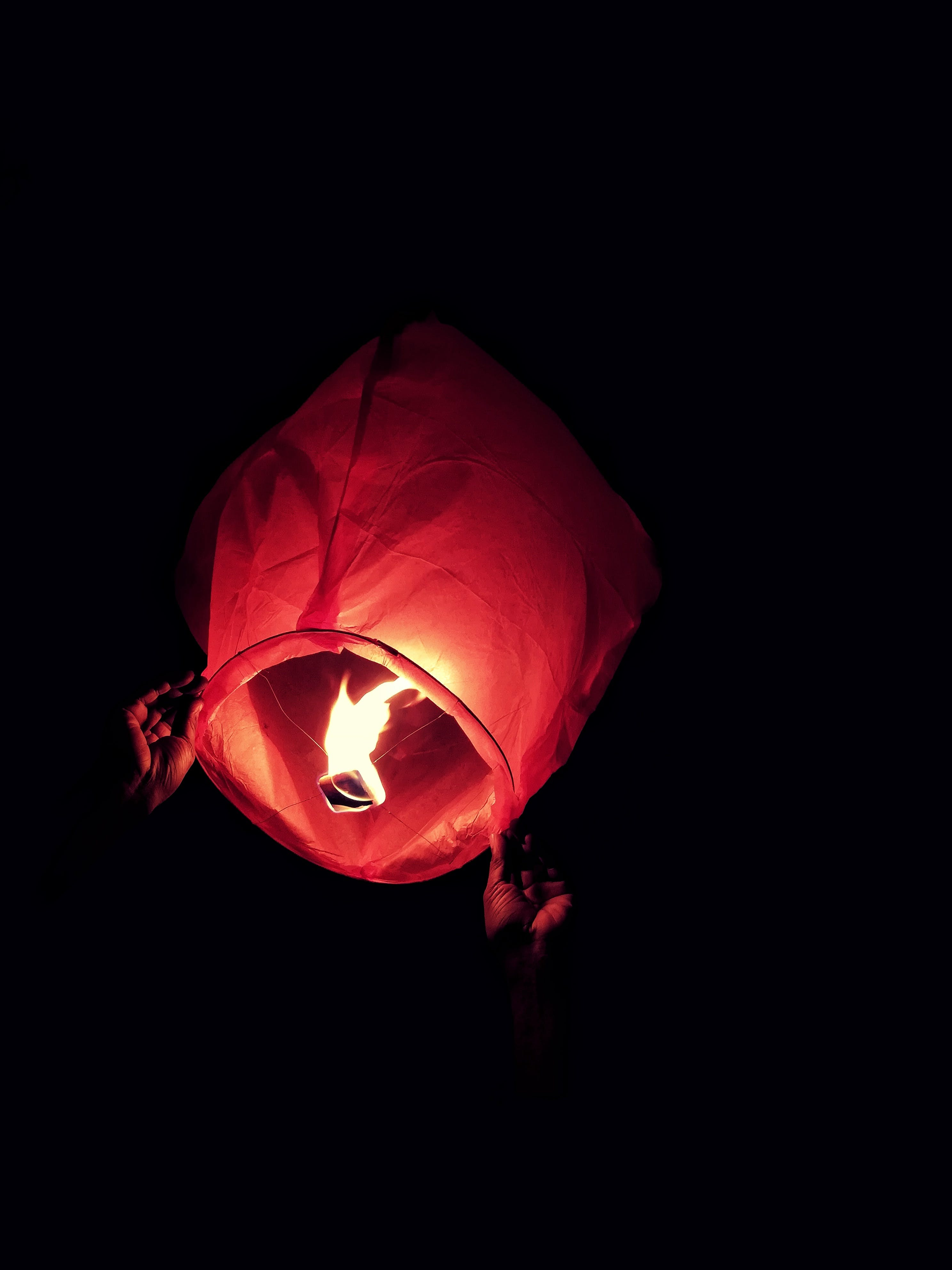 Red Sky Lantern With Fire