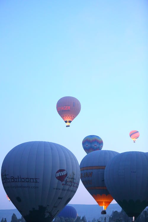 Hot Air Balloons Lifting to the Sky