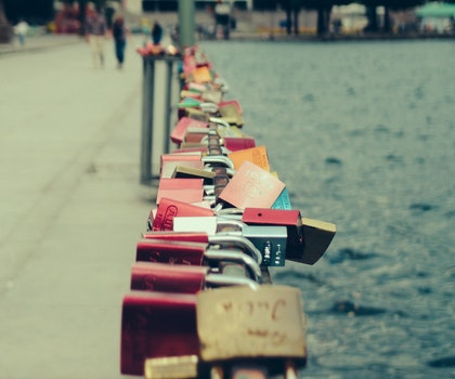 Free stock photo of love, night, locks, hannover