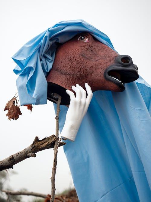 Brown Horse Head on Blue Textile