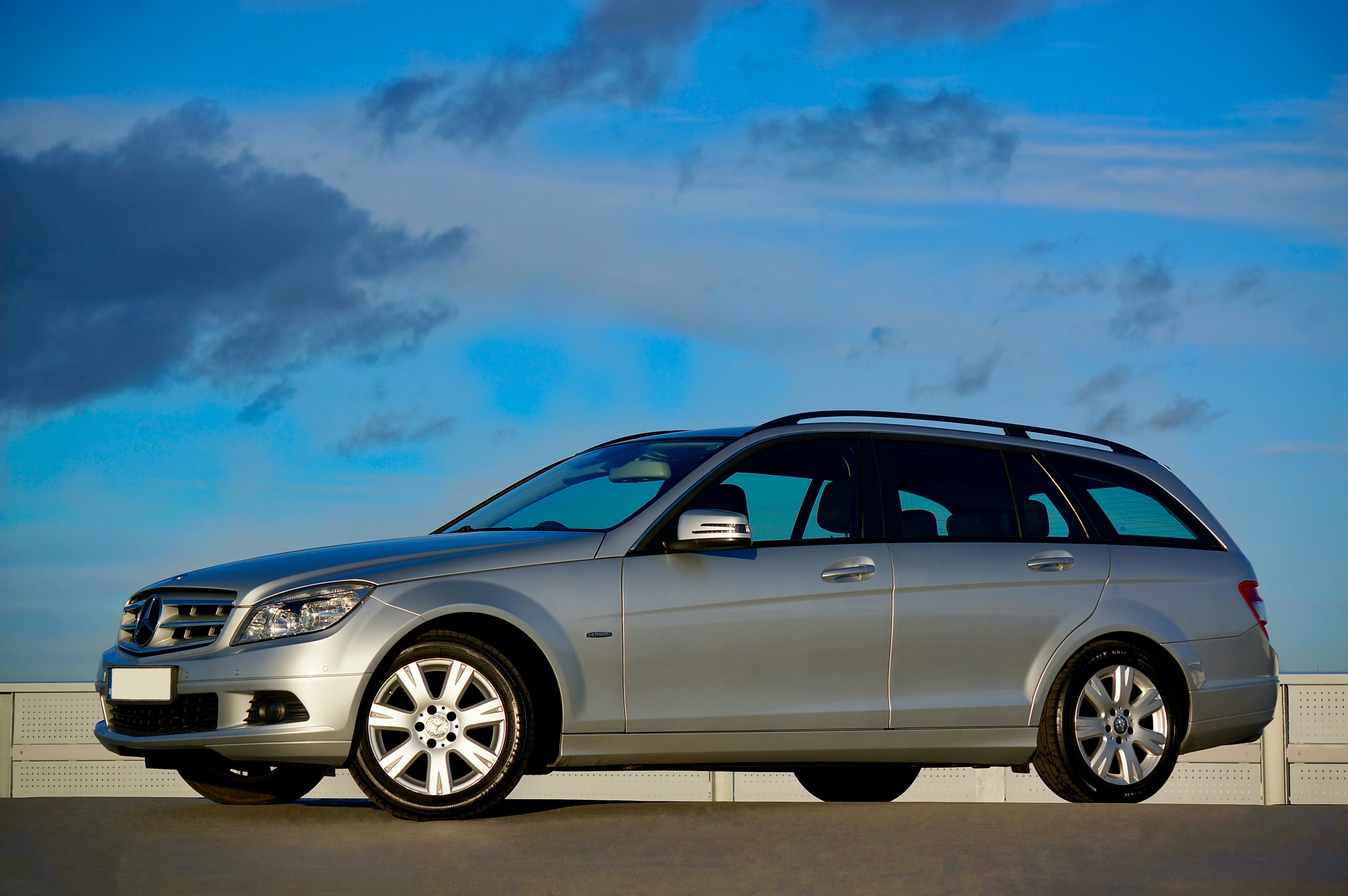 Free stock photo of blue sky, silver, mercedes-benz, station wagon