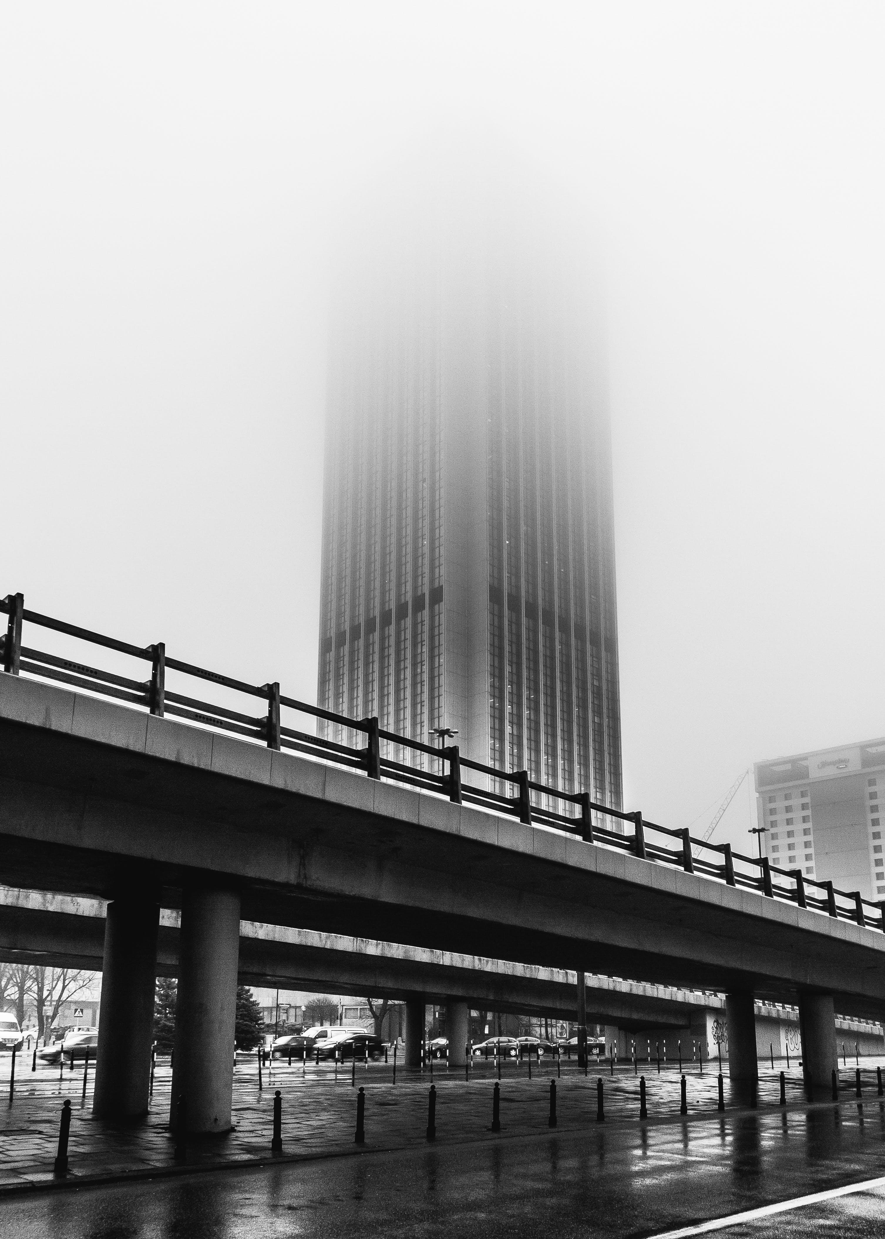 Free stock photo of black and white, bnw, bridge, foggy